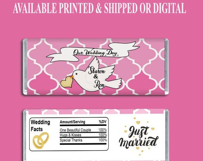 Wedding Candy Bar Wrapper - Party Favors - Custom Party Favors - Wedding Favors - Digital - Printed- Printables - Party Printable