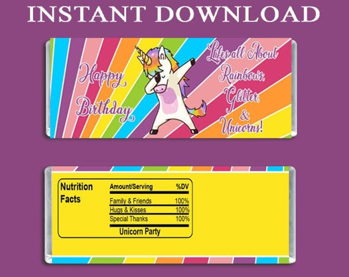 Dabbing Unicorn Candy Bar Wrapper - INSTANT DIGITAL DOWNLOAD - File Cannot Be Customized - Unicorn Party - Party Favor - Digital Download