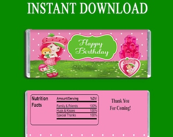 Strawberry Shortcake Candy Bar Wrapper - INSTANT DIGITAL DOWNLOAD - File Cannot Be Customized - Party Favor - Digital Download