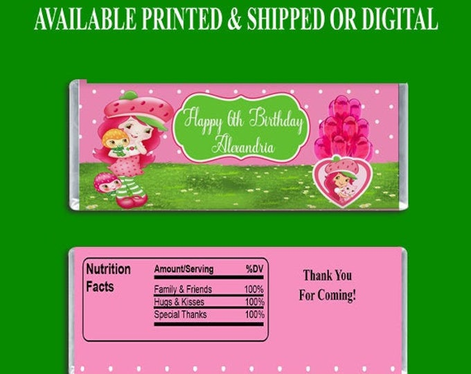 Strawberry Shortcake Candy Bar Wrapper - Party Favors - Custom Party Favors - Kids Birthday Party - Digital - Printed - Party Printable