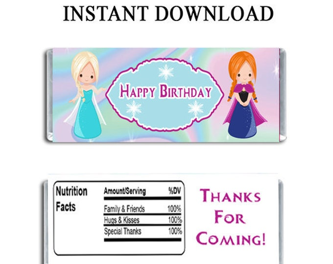 Frozen Candy Bar Wrapper - INSTANT DIGITAL DOWNLOAD - File Cannot Be Customized - Frozen Party Favor - Digital Download - Party Printables