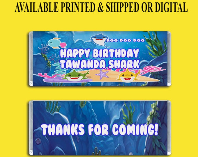 Shark Candy Bar Wrapper - Party Favors - Custom Party Favors - Kids Party - Birthday - Digital - Printed- Printables - Party Printable