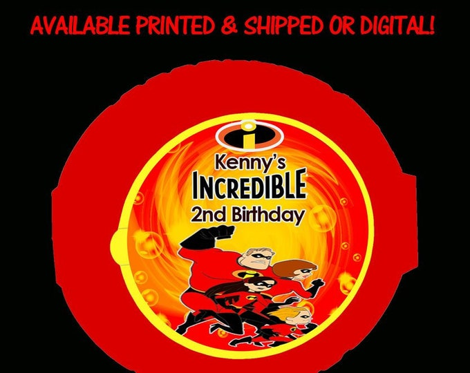 The Incredibles Bubblegum Tape - Bubble Gum - Stickers Labels - Incredibles Birthday - Incredibles Party - Digital - Stickers - Printed