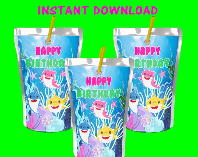 Shark Capri Sun Labels - INSTANT DIGITAL DOWNLOAD -File Cannot Be Customized - File Not Editable - Baby Shark Party Favor - Party Printables