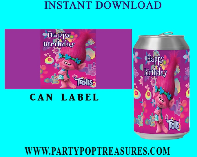 Trolls Soda Can Label - INSTANT DIGITAL DOWNLOAD - File Cannot Be Customized - File Not Editable- Troll Party Favor- Troll Birthday- Digital
