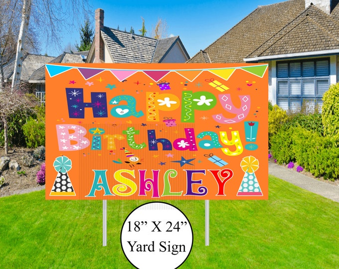 Happy Birthday Yard Sign - Birthday Lawn Sign - Social Distancing Drive By Birthday Party - Girl Drive By Birthday - Car Birthday Parade