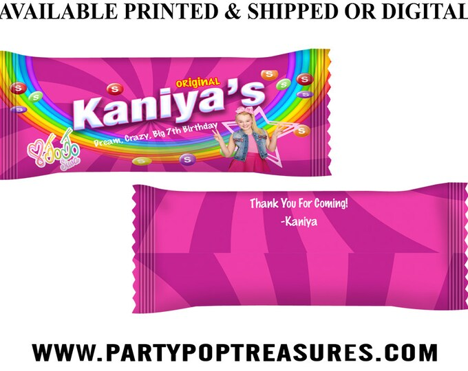 JoJo Candy Wrappers - Rainbow Candies Wrappers - Party Favor - Candy Wrapper - JoJo Siwa Theme - Digital File - Party Printables