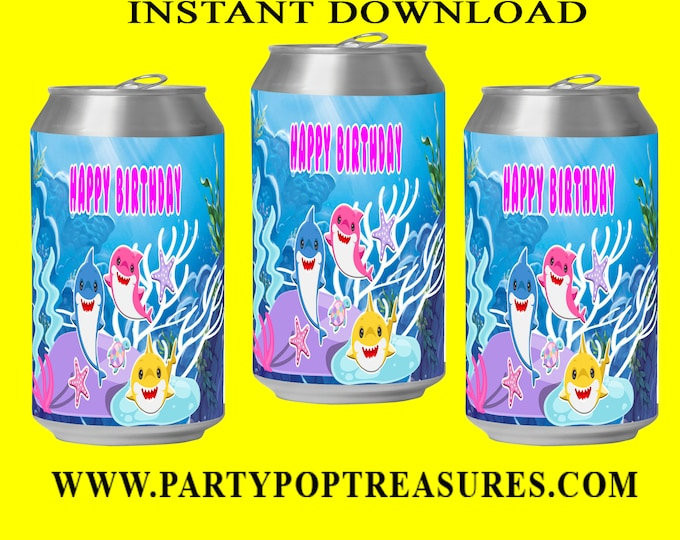 Shark Soda Can Label - INSTANT DIGITAL DOWNLOAD - File Cannot Be Customized - File Not Editable - Baby Shark Party Favor - Shark - Digital