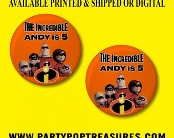 The Incredibles Pushback Button Pins - Incredibles Party Favors - Incredibles - Pushback Button Pins - Button Pins - Party Favors