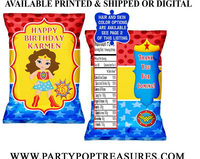 Wonder Woman Chip Bag - Chip Bag - Favor Bag - Wonder Woman Party Favors - Wonder Woman Party - Digital File - Party Printable