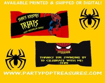 Spiderman Rice Krispy Treat Wrapper - Spiderman Party - Party Favors - Rice Krispy Treats - Party Printables - Digital - Printed