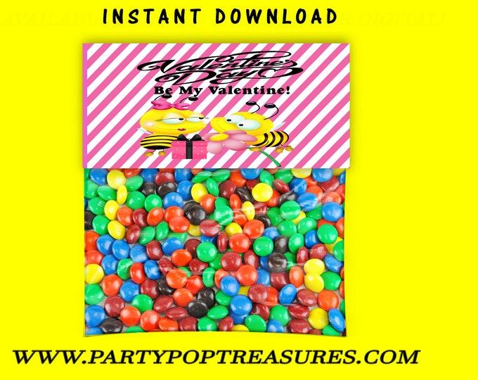 Valentine Treat Bag Topper - INSTANT DIGITAL DOWNLOAD - File Not Editable - Candy Bag Topper - Valentines Chip Bag - Party Printable