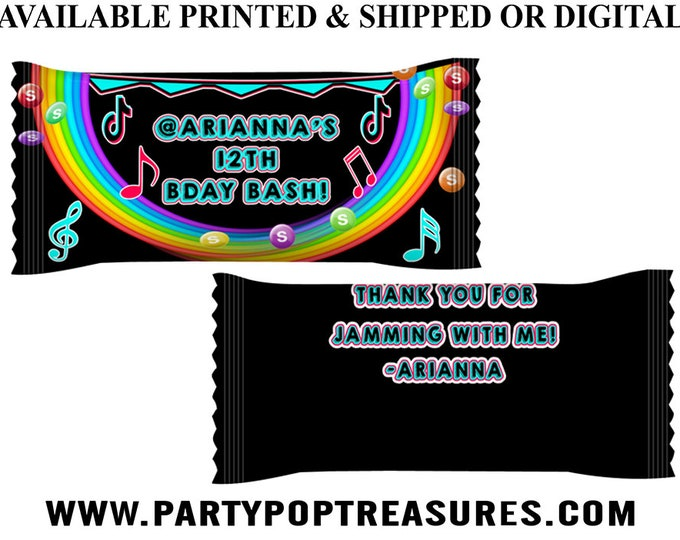 Music Theme Skittles Candy Wrapper - Music Theme - Skittles Candy Favors - Music Party - Music Party Favors - Digital - Party Printable