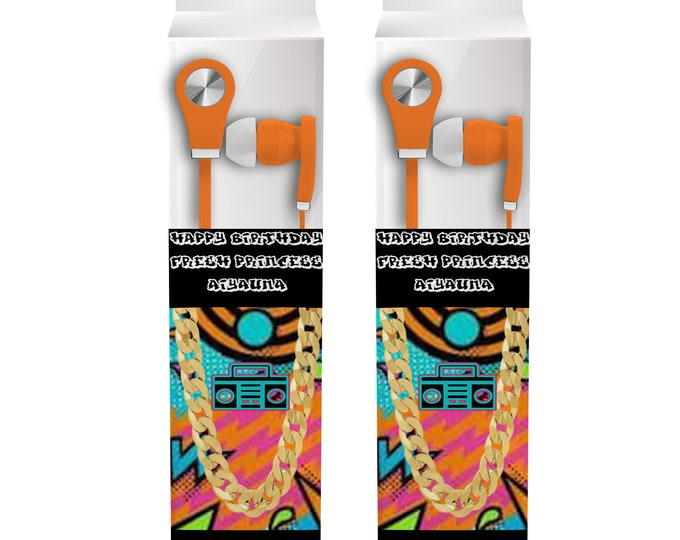 Fresh Princess Earbud Label - Headphone Labels - Fresh Princess - Custom Party Favors - Goody Bags - Party Printables - Digital - Printed