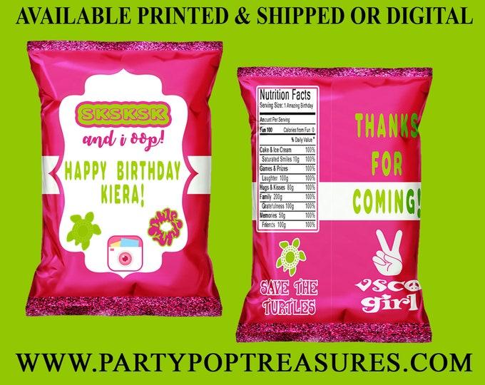 VSCO Chip Bag - VSCO Girl - VSCO Birthday Party - Custom Party Favor - Custom Chip Bag - vsco Invitation - Digital - Party Printables
