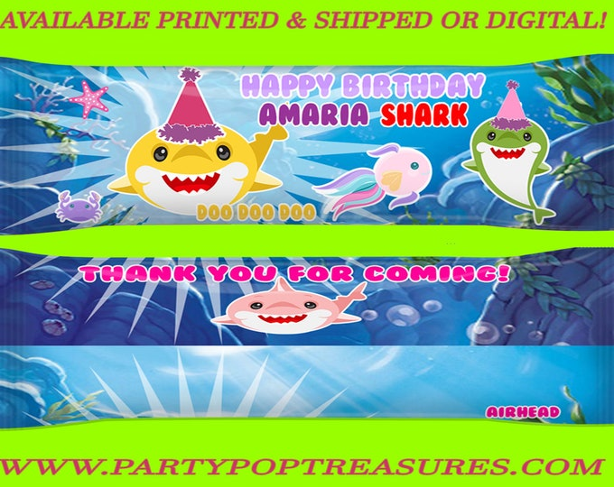 Shark Airhead Wrappers - Shark Party Favors - Airhead Wrappers - Shark Taffy Wrappers - Shark - Shark Party - Digital - Party Printables
