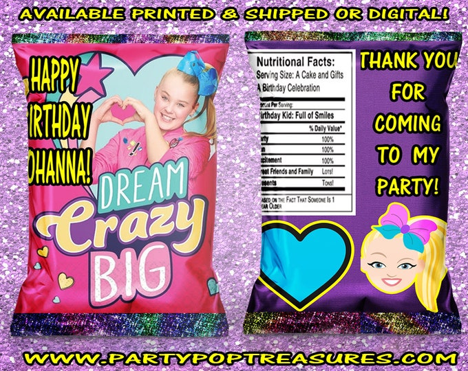 JoJo Chip Bags - Custom Chip Bags - JoJo Birthday - JoJo Party - JoJo Chip Bag - Party Favors - Custom - Printable - Digital - Printed