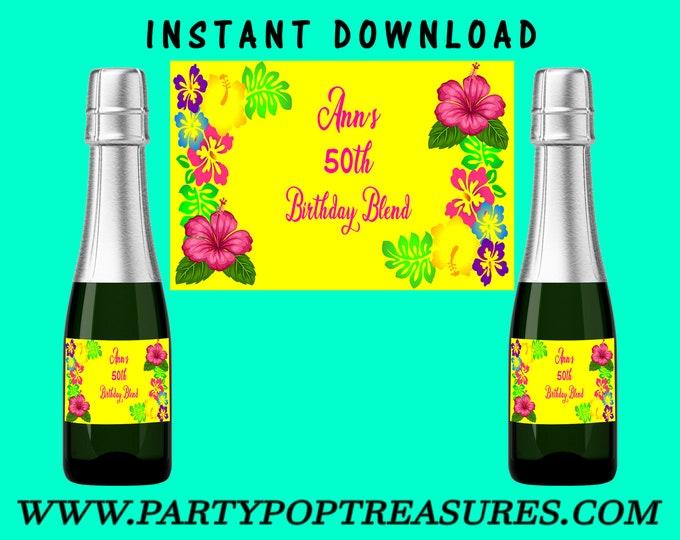 Mini Champagne Bottle Labels - INSTANT DIGITAL DOWNLOAD - File Cannot Be Customized - Wine Bottle - Printable Labels - Digital File