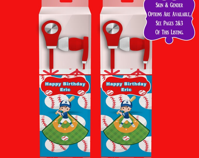 Baseball Earbud Label - Baseball Headphone Labels - Custom Party Favors - Baseball Birthday Party - Party Printables - Digital - Printed
