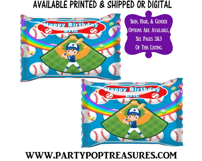 Baseball Fun Size Skittles Candy Wrapper - Rainbow Candies - Baseball Party Favor - Candy Wrapper - Digital - Party Printables