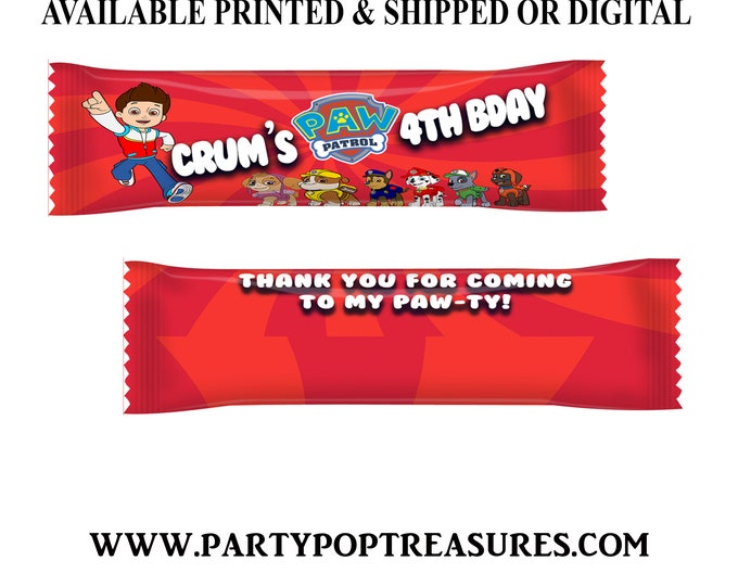 Paw Patrol Airhead Wrappers - Paw Patrol Taffy Favors - Candy Favors - Paw Patrol Party - Custom Favors - Digital - Party Printable