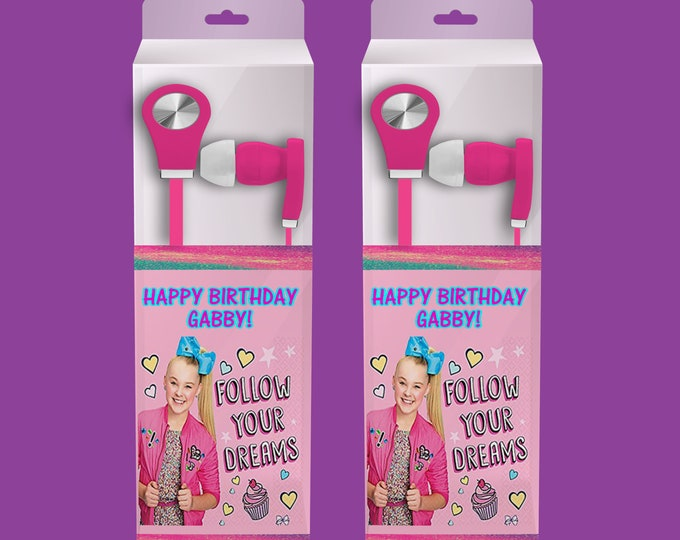 JoJo Siwa Earbud Label - Headphone Labels - Custom Party Favors - Goody Bags - Birthday Party Printables - Digital - Printed