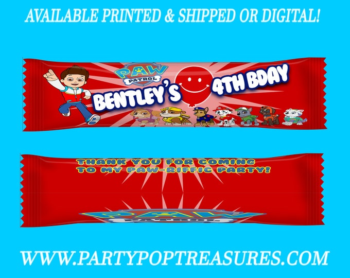 Paw Patrol Airhead Wrappers - Paw Patrol Taffy Favors - Candy Favors - Paw Patrol Party - Custom Favors - Printed- Digital- Printable