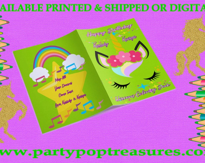 Unicorn Coloring Book for Kids Birthday Party - Customized with Name and Photo, Available Digital, Printed, and Printable