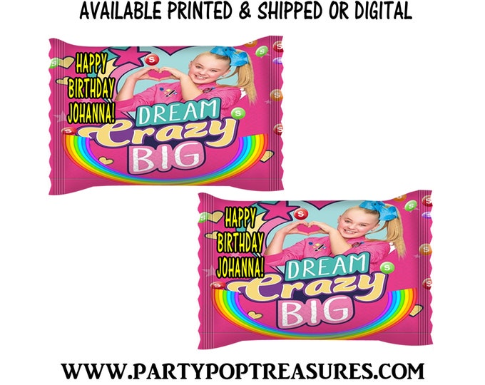 JoJo Fun Size Skittles Candy Wrapper - Rainbow Candies - JoJo Party Favor - Candy Wrapper - Digital - Party Printables