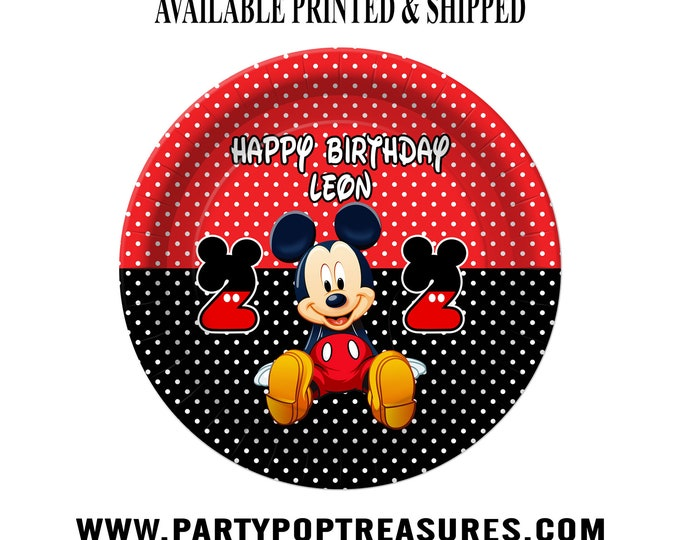 Mickey Mouse Dessert Plate - Custom Paper Plate - Mickey Mouse Party - Mickey Mouse Theme - Digital - Printed - Party Printable