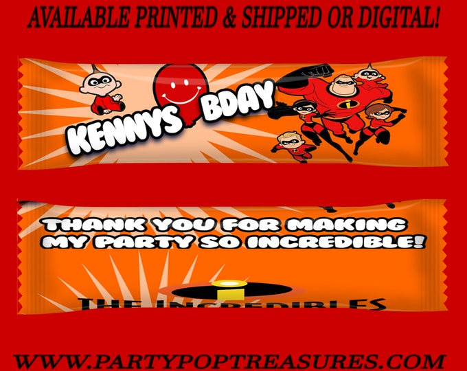The Incredibles Airhead Wrappers - Taffy Favors - Candy Favors - Incredibles Party - Custom Favors - Digital - Party Printable