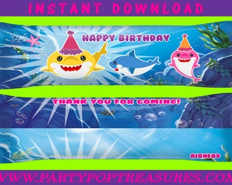 Shark AirHead Wrappers - INSTANT DIGITAL DOWNLOAD - File Not Editable - Shark Taffy Wrappers - Baby Shark Party Favors - Party Printables