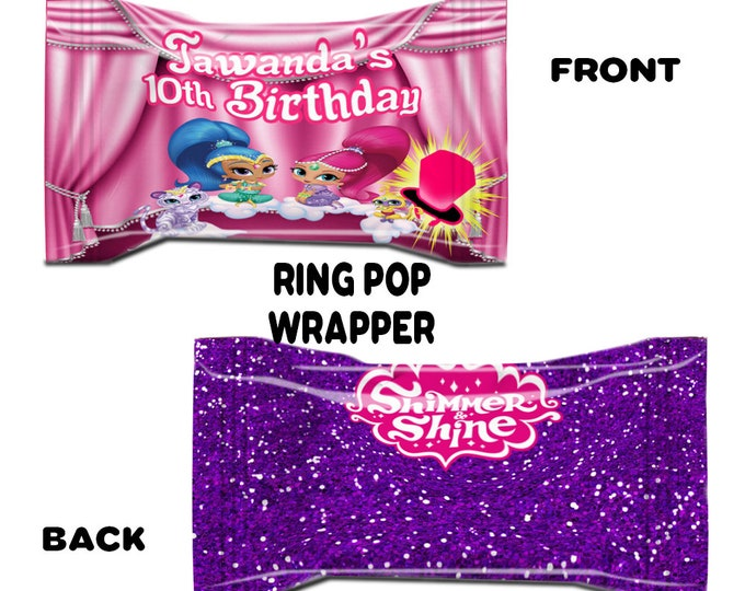 Shimmer and Shine Ring Pop Wrapper - Shimmer and Shine Party Favors - Ring Pop - Candy Wrapper - Digital - Party Printables