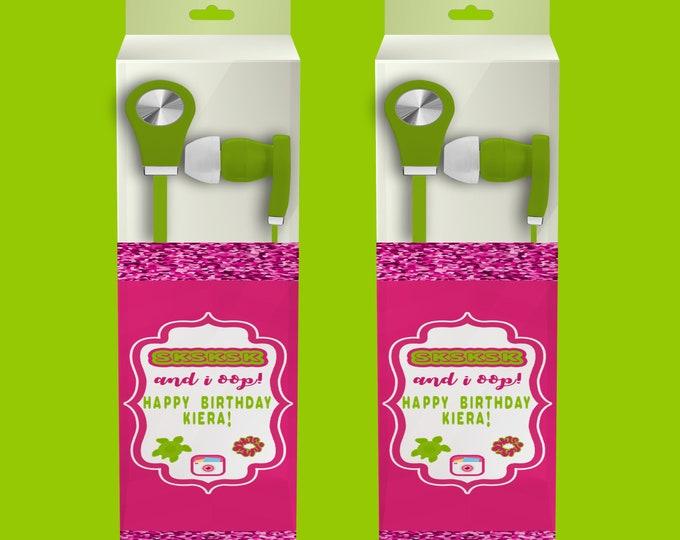 VSCO Earbud Label - Custom Party Favors - VSCO Headphone Labels - VSCO Birthday Party - Party Printables - Digital - Printed