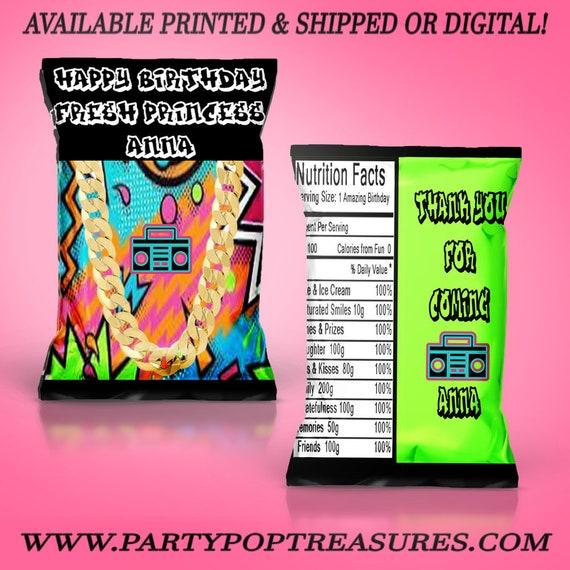 Fresh Princess Chip Bag Fresh Princess Party Party Favor Custom Chip Bag Party Favor Digital Printed Party Printable