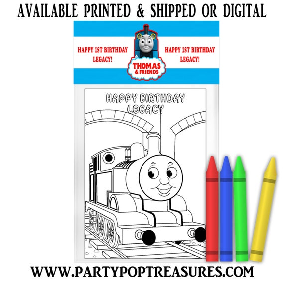 Thomas The Train Coloring Pack - FREE CRAYONS - Thomas The Train Party  Favor - Coloring Book - Digital - Party Printables - Printed By Party Pop  Treasures Catch My Party