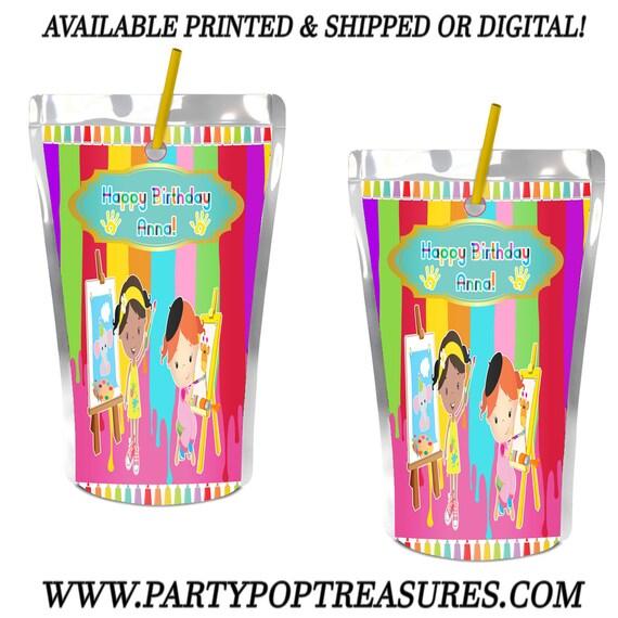 Paint Party Juice Pouch Label - Paint Party - Juice Pouch
