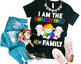 d8149579 I Am The The Rainbow Sheep of the Family Gay Pride Shirt Women Matching  Lesbian Bi Trans Pan Queer LGBT Month Parade Fest Brunch Cute