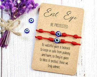 Nazar Evil Eye 7 knots Lucky Bracelet, Red String Bracelet , Family protection bracelet , mother father baby kid protection bracelet nazar
