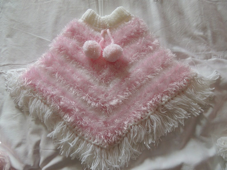 New Hand Knitted DK PinkWhite Poncho