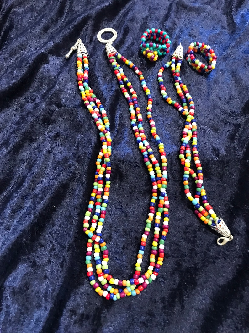 Multicolor Necklace Bracelet and 2 rings