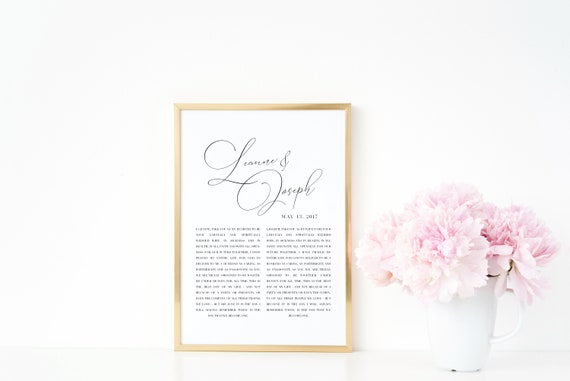 Hand Lettered Script Wedding Vows Wedding Gift Cotton Paper Anniversary Gift Father S Day Sentimental Gift