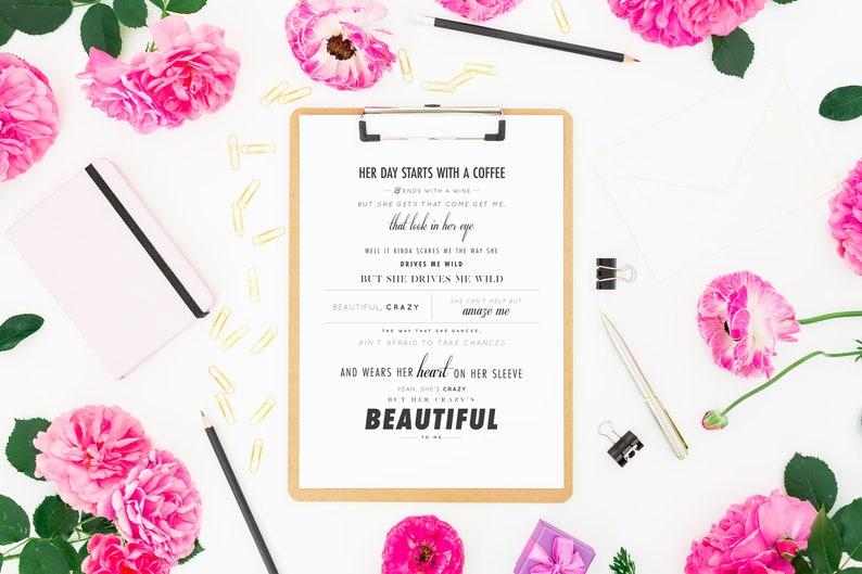 Luke Combs Beautiful Crazy Lyrics Wedding Gift Etsy