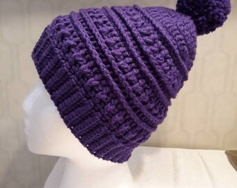 Crochet Dark Purple Adult Katniss Hat with Pompom 136316363f9
