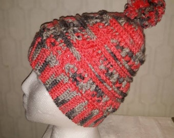 Crochet Ladies Adult Katniss Hat with Pompom 3527e9cf169