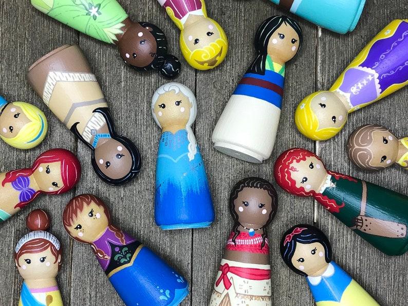 Princess Peg Dolls Peg Dolls Princess Toys Wood Toys Princess Dolls Create Your Own Set Custom Toys Princess Peg Doll Peg Doll Set