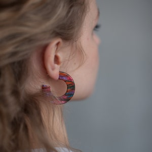 modern acetate earrings Hoops Earrings Sunlight Cellulose Acetate Jewelry pink acetate jewelry women fashion gift 925 silver closures