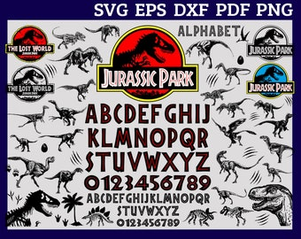 Jurassic Park Svg Dinosaur Birthday World Alphabet Letters Eps Silhouete Cricut Clipart Decal Cameo Digital Download Gift Logo