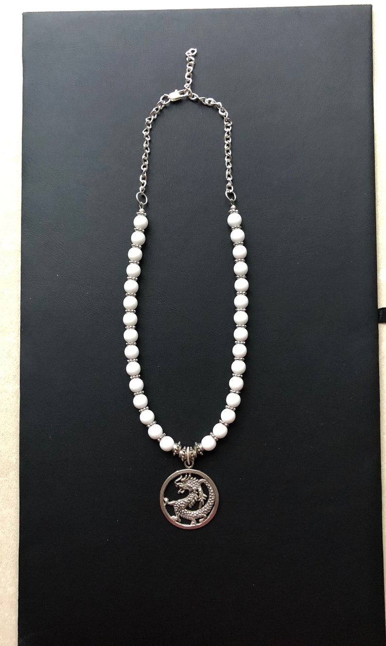 Short Necklace Chinese New Year Gift Chinese Zodiac Silver Chain Holiday Gift White Beaded Necklace Good Luck Silver Dragon Pendant