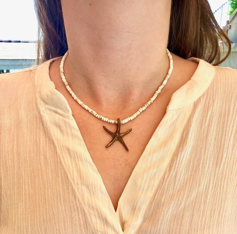Howlite Beads Starfish Pendant Collar Necklace  Bronze Starfish Choker  Beach Style Jewelry  Hip Boho Jewelry  Trendy  Rondelle Beads